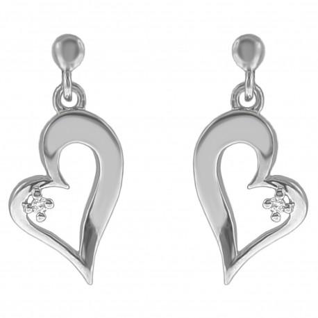 Boucles d'oreilles Coeur  en Argent 925 rhodié et Oxyde Zirconium