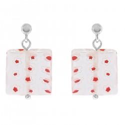 Boucles d'oreilles en Argent 925 et carré de verre