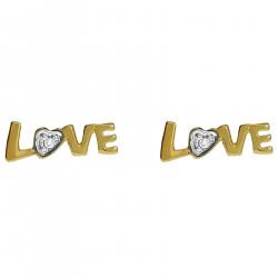 Boucles d'oreilles Love Plaqué Or 18 carats et Oxyde Zirconium