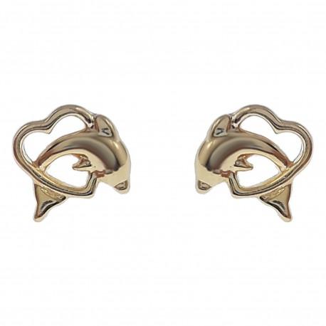 Boucles d'oreilles Coeur Dauphin Plaqué Or 18 carats