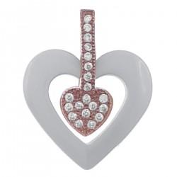 Pendentif Coeur Plaqué or rose 18 carats, Céramique blanche et Oxydes de Zirconium