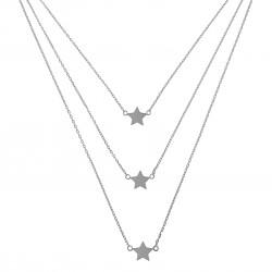 Collier multi-rangs étoiles en Argent 925 Rhodié