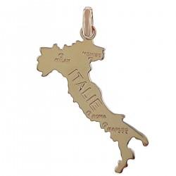 Pendentif carte Italie Plaqué Or 18 carats