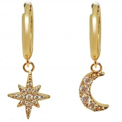 Boucles d'oreilles Créoles Lune Plaqué Or 18 carats et Oxydes Zirconium