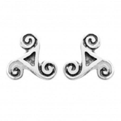 Boucles d'oreilles Triskel en Argent 925 vieilli