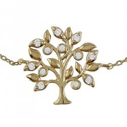 Bracelet Arbre de Vie 20cm Plaqué Or 18 carats et Oxydes Zirconium