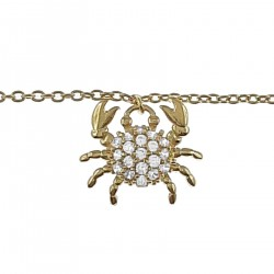 Bracelet de cheville Crabe Plaqué Or 18 carats et Oxydes Zirconium