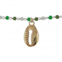 Bracelet de cheville Coquillage Plaqué Or 18 carats et Perles Miyuki