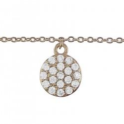 Bracelet de cheville Plaqué Or 18 carats et Oxydes Zirconium