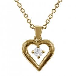 Collier Coeur Plaqué Or 18 carats et Swarovski® Zirconium