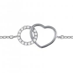 Bracelet Coeur en Argent 925 rhodié et Oxydes Zirconium