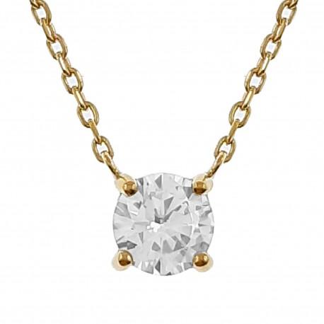 Collier Solitaire Plaqué Or 18 carats et Oxyde Zirconium