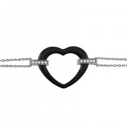 Bracelet Coeur en Acier Inoxydable, Céramique noire et Zirconium - Longueur 19cm