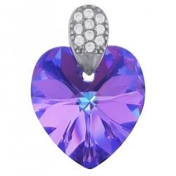 Pendentif Coeur en Argent 925 rhodié, Cristal Swarovski® Vitrail Light et Zirconium
