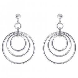 Boucles d'oreilles 3 anneaux en Argent 925 rhodié