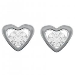 Boucles d'oreilles Coeur en Argent 925 rhodié et Swarovski® Zirconia