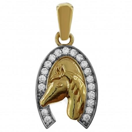 Pendentif Fer à cheval Plaqué or 18 carats et Oxydes de Zirconium