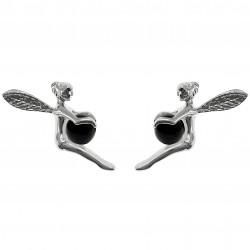 Boucles d'oreilles Fée en Argent 925 et Onyx
