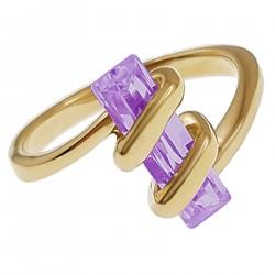 Bague Plaqué Or 18 carats et Oxyde Zirconium violet