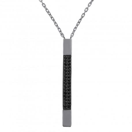 Collier en Argent 925 rhodié et Oxydes Zirconium noirs - Longueur 45cm