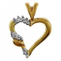 Pendentif Coeur Plaqué or 18 carats et Oxyde de Zirconium