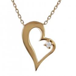 Collier Coeur Plaqué Or 18 carats et Oxyde Zirconium