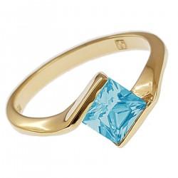 Bague Plaqué Or 18 carats et Oxyde Zirconium bleu