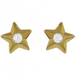 Boucles d'oreilles étoile Plaqué Or 18 carats et Cristal