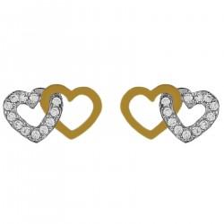 Boucles d'oreilles Coeur Plaqué Or 18 carats et Oxydes Zirconium