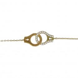 Bracelet Menottes Plaqué Or 18 carats et Oxydes Zirconium