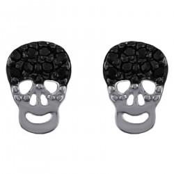 Boucles d'oreilles Tête de mort en Argent 925 rhodié et Oxydes Zirconium noirs et blancs