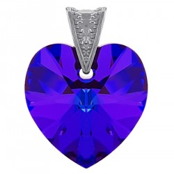 Pendentif Coeur en Argent 925 rhodié et Cristal Swarovski® Héliotrope