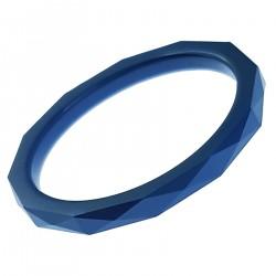 Bague facettée en céramique bleue