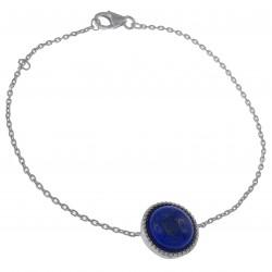 Bracelet 18cm en Argent 925 rhodié et Lapis Lazuli