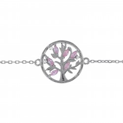 Bracelet Arbre de Vie en Argent 925 rhodié et Oxydes Zirconium rose