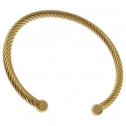 Bracelet jonc torsadé 56mm Plaqué Or 18 carats