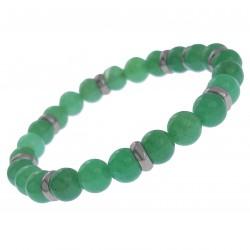 Bracelet Homme en Acier inoxydable et Quartzite vert