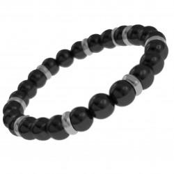 Bracelet Homme en Acier inoxydable et Agate noire