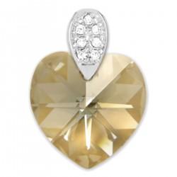 Pendentif Coeur en Argent 925 rhodié, Cristal Swarovski® Golden Shadow et Oxydes Zirconium
