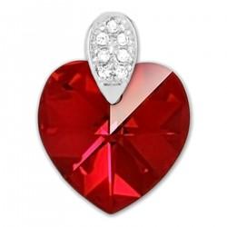 Pendentif Coeur en Argent 925 rhodié, Cristal Swarovski® rouge et Oxydes Zirconium