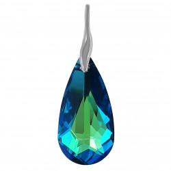 Pendentif en Argent 925 rhodié et Cristal Swarovski® Bleu Bermudes