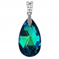 Pendentif en Argent 925 rhodié, Cristal Swarovski® Bleu Bermudes et Oxydes Zirconium