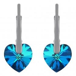 Boucles d'oreilles Coeur en Argent 925 rhodié et Cristal Swarovski© Bleu Bermudes