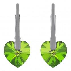 Boucles d'oreilles Coeur en Argent 925 rhodié et Cristal Swarovski© Vert