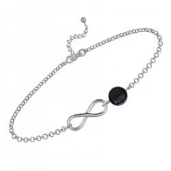 Bracelet Infini en Argent 925 rhodié et Onyx