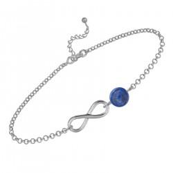 Bracelet Infini en Argent 925 rhodié et Lapis Lazuli