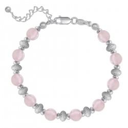 Bracelet en Argent 925 et Quartz rose
