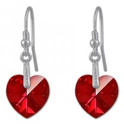 Boucles d'oreilles Coeur en Argent 925 rhodié et Cristal Swarovski© rouge