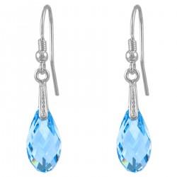 Boucles d'oreilles en Argent 925 rhodié et Cristal Swarovski© Bleu Aquamarine
